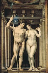 Figure 23-15 JAN GOSSAERT Neptune and Amphitrite, ca. 1516. Oil on wood, 6' 2