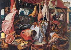 Figure 23-17 PIETER AERTSEN, Butcher's Stall, 1551. Oil on wood, 4' 3/8