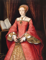 Figure 23-19 Attibuted to LEVINA TEERLINC. Elizabeth I as a Princess, ca. 1559. Oil on wood, 3' 6 3/4