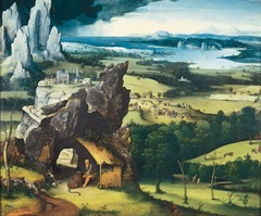 Figure 23-20 JOACHIM PATINIR, Landscape with Saint Jerome, ca. 1520-1524. Oil on wood, 2' 5 1/8