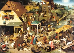 Figure 23-21 PIETER BRUEGEL THE ELDER, Netherlandish Proverbs, 1559. Oil on wood, 3' 10