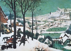 Figure 23-22 PIETER BRUEGEL THE ELDER, Hunters in the Snow, 1565. Oil on wood, approx. 3' 10 1/8