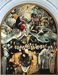 Figure 23-25 EL GRECO, The Burial of Count Orgaz, 1586. Oil on canvas, 16' x 12'. Santo Tomé, Toledo.