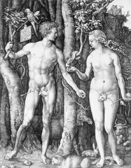 Figure 23-5 ALBRECHT DÜRER, The Fall of Man (Adam and Eve), 1504. Engraving, 9 7/8