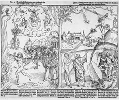 Figure 23-8 LUCAS CRANACH THE ELDER, Allegory of Law and Grace, ca. 1530. Woodcut, 10 5/8
