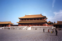 Forbidden City Beijing, China. Ming Dynasty. 15th century C.E. and later. Stone masonry, marble, brick, wood, and ceramic tile It stands for the culmination of the development of classical Chinese and East Asian architecture and influences the development of Chinese architecture. The largest surviving wooden structure in China is surrounded by 7.9 meters (26 feet) high walls and 3,800 meters (2.4 miles) long moat.