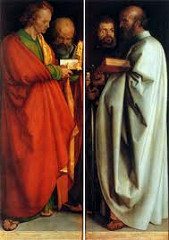 Four Apostles by Durer, 16th Cen N Ren  - Lutheran style, city fathers of Nuremberg, to be hung in city hall, personal attitude towards religion, supposed to personally viewed -John, Peter, Mark, Paul  - Title - misnomer - Mark as angelican - St Peter church in Rome, placed behi d John, focused on bible along - lots Lutheran - Single truth - w/gospel excert  -- Bottom - translations to italian, at nottom  - falseness - sioutyality  - synnnnetrical ib sgiw okay