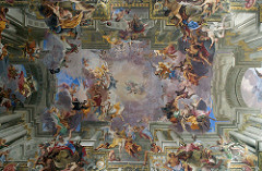 Fra Andrea Pozzo Glorification of Saint Ignatius ceiling fresco in the nave of Sant' Ignazio Rome, Italy Period: Baroque created illusion of church going into the sky