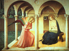 Fra Angelico. Early Renaissance. Annunciation. This painting is related to it's locatoin because the arches echo the curves of the monk's cell wall.