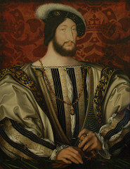 Francis I by Clouet, 16th Cen N Ren  - painted background, heavy texturing of cloth, opulent dress - worldly prince in brocades w/chain, pommel of dagger, order of st michael  - sense of him - seems to be looking down at audience - sneaky/sly look - open/relaxed hand position - no power or determination  - great lover, gallant situations, so debonair - cut off by frame, alludes to greatness as hero, suppresses modeling  - lack of light and shadow for modeling