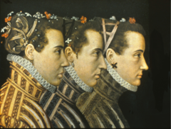 French princes with old-fashioned hair styles similar to women in the medieval period. The flowers are for a special occasion. Note the ruffs, earrings. Note the shaping of the collars.