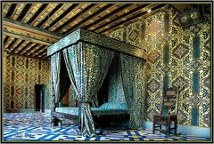 French Renaissance. Chateau de blois. Catherine Medici's Bedroom. Heavy painted beam ceiling, Draped four corner bed. elaborate pattern on floor and walls.