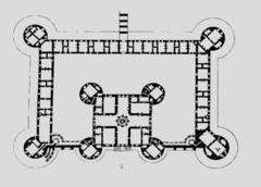 French Renaissance.Chateau de chambord plan. Domienico de Cotona.