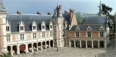 French Renaissance. Loius 12th wing of Chateau de blois. Black pitched roof, dormers, depressed arch.