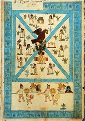 Frontispiece of the Codex Mendoza Viceroyalty of New Spain. c. 1541-1542 C.E. Ink and color on paper The artist emphasizes the military power of the Aztecs by showing two soldiers in hierarchic scale: they physically tower over the two men they defeat. The Codex contains a wealth of information about the Aztecs and their empire