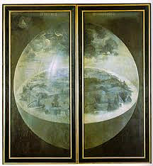 Garden of Earthly Delights (Closed) by Hieronymous Bosch, 15th Cen. N Ren  - theme of doom - satire or pornography? heresy? orthodox fanatic most popular idea.  - triptych  - visionary world - devastated earth, what earth was to look like - figure in corner = god or angel?  - early surrealism/sex?  - marriage/sex/procreation ideas?  - painted for palace of Henry 3rd