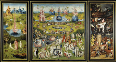 Garden of Earthly Delights (inside) by Hieronymous Bosch, 15th Cen. N Renaissance - left: creation of eve: cult for Adam/Adamists - anti-feminists, blamed women for basically everything  - Eve : incarnation of original sin, she is presented to Adam in a way that Adam is almost excited  - man in center presenting = christ or god - very calm, false/odd paradise, real/fantastical animals: horned giraffe?, elephant, unicorn. Also weird rocks, space odyssey, etc - Center panel : Garden of Earthly Delights - false paradise on Earth  - things contributing to sin, what will eventually send people to hell  - ravens= evil, owls= witchcraft, egg= sex and alchemy (latter especially w/glass references),  - alchemy: glass and beakers - glass = good fortune, but easily broken .. people wanted to create gold, failed, sent to hell, very temportal  - afterlife is more important  - ladies scheming in pool, generally being evil - fruits = prostitution, etc - rodents = lies - birds = demonic themes, sitting watchful  - dead fish = lost promises, memories of joy  - interracial couples, ooh how scandalous  - shellfish = aphrodesiacs  - Hell: right panel: actual hell, music theme pervading, as wickedness is in music - punished people w/instruments  - generally people being hurt w/ different instruments, various stabbings, eating, mockery of copper pot - if man is left to his own devices, he shall be damned  - lots of details despite not being extremely ... normal