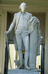 George Washington Jean-Antoine Hudson. 1788-1792 C.E. Marble The statue, with all of its elements, skillfully combines ancient and modern styles to illustrate both military and civilian virtues. When Houdon completed the statue, he inscribed the base simply with