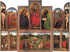 Ghent Altarpiece by Jan Van Eyck, 15th Cen. Northern Ren  - luminous enamel-like surface from oil paintings, much more layering and realism, deep tonality, sharp edge and clarity, render appearances SO realistic - tempura and oil paint on wood  - outside just surface, real truth on inside  - Vyd was diplomat retainer, lots of connections, Vyds = doners, represented in bottom outside niches, in prayer, gaze illusionistic stone sculptures versus patron saints  - John the Evangelist  - grisalle style in niche - top: annunciation, flemish landscape of town - lily flowers in angel's hands - resurrection, crucifixion, etc - upper arched panels - old testament prophets writing about coming of christ, pagan figures in center see coming of messiah , minaturistic  - pearls on clothing, super realistic  - inner panels : adam and eve, singing angels, god, mary, st john the baptist and redemption of sin w/ god's infinite love, sacrifices own son for redemption of mankind  - god inscription on robe, states sacrificing love, hand up as teacher, temporal worldly crown, tiara on head. 3-tiered, various inscriptions about sacrifices of god, kindly father - tapestry over throne has stylized pelicans representing self-sacrificing love, symbolized sacrifice  - Mary, queen of heaven, detailed w/alternating flower types, love/sacrifice, crown w/12 points : 12 apostles, above her head, virtue/purity - St John the Baptist has quote about how great he is  - Eve - pear-shaped body, holding apple, bad but still all forgiven - bottom - lamb in center w/holy spirit above, rays of divine light, bleeding into chalice to symbolize eucharist, entire altarpiece read, lamb = christ  - around: community of saints, back w/holy virgins, other side w/representatives of church, martyrs, apostles, people on knees reading gospels - outer bottom panels - 4 virtues symbolized in groups of people: knights/fortitude, church judges=justice, hermits/temperence, pilgrims=prudence