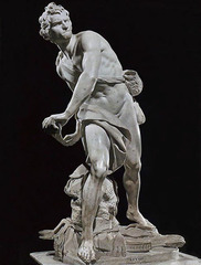 Gianlorenzo Bernini David Galleria Borghese, Rome Marble Period: Baroque moment in action violent, pivotal moment caught in sculpture necessary to walk around object connection to roman disc thrower