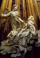 Gianlorenzo Bernini Ecstasy of Saint Teresa Cornaro Chapel, Santa Maria della Vittoria Rome, Itay Period: Baroque distinction in texture-skin, wings, fabric,clouds chiaroscuro in sculpture not suppose to walk around sculpture