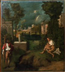 Giorgione. Italian. The Tempest,c. 1510 High Renaissance. -Venetian artist, student of Bellini, much of the credit is given to him for developing the poetic manner of painting -Bellini was his teacher, came from a town near Venice -displays interest in poetic qualities of the natural landscape inhabited by humans -dominating the scene is slush landscape, stormy skids and lighting in the middle background threaten the tranquility of the pastoral setting -pushed off to both sides are the human figures- a young woman nursing a baby in the right foreground and a man carrying a halberd (a combination spear and battle-ax) on the left -much debate over the painting, possibly no definitive narrative to the piece, which is appropriate for the Venetian poetic rendering -some scholars suggest biblical or mythological narratives -the debate heightens the uncertainty and enigmatic qualities of the piece -died very young after leaving Bellini's workshop -secular painting, done for a bedroom or a sitting room of a wealthy Venetian -archiecture in the distance -Venetian art is characterized as being poetic, with interest in landscapes, less architecture -mother wither her child at right and left hand side is a soldier wearing tight pantaloons and carrying a spike -could be virgin marry and Joseph, BUT not represented correctly,. Not a soldier, also she is nude from waste down -looks like post classical times (town in the background) -could be a storm cloud, get sense people are being enveloped by the storm cloud in the background, looks like it might be lightning -died of the plague, had great potential