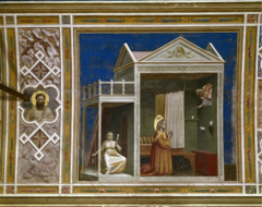 Giotto. Italian. Annunciation to St. Anne. Interior of the Arena Chapel, Padua c. 1305 Italian Gothic oWings are stuck, blessing St. Anne, outside space there is woman holding yarn spindle thingy oCreates a very believeable three dimensional space, space box, placing figures within have a great sense of weight oLegs are arranged so you can see her lap oDrapery helps understand the body oWithin a naturalistic space, bodies turn slightly towards us oGive depth, Giotto very early for depth like this oInspires Rennaisacne about 100 years later
