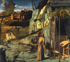 Giovanni Bellini, Saint Francis in the Desert, c. 1480, oil and tempera on poplar, 124.5 x 141.9 cm (The Frick Collection, New York) .  No stage props of divinity Artists are interested in interpreting the stories of the bible form fully naturalistic ways Getting this hidden symbolism from the Renaissance Grapevine refers to the eucharist, the wine, blood of Christ Plants are identifiable by species Interrelation between the spiritual and real world May be the most extensive treatment of landscape to this day Bellini has enlarged the background, drawing off but not like other Renaissance painting Expression of humanism in Renaissance Our natural world can ennoble us