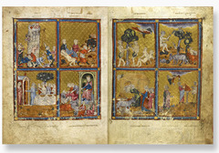 Golden Haggadah (The Plagues of Egypt, Scenes of Liberation, and Preparation for Passover) Late medieval Spain. c. 1320 C.E. Illuminated manuscript (pigment and gold leaf on vellum) The book was for use of a wealthy Jewish family. The holy text is written on vellum - a kind of fine calfskin parchment - in Hebrew script, reading from right to left. Its stunning miniatures illustrate stories from the biblical books of 'Genesis' and 'Exodus' and scenes of Jewish ritual.