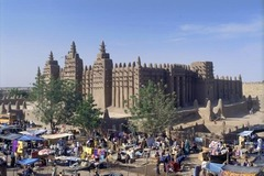 Great Mosque of Djenné Mali. Founded c. 1200 C.E.; rebuilt 1906-1907. Adobe. As one of the wonders of Africa, and one of the most unique religious buildings in the world, the Great Mosque of Djenné, in present-day Mali, is also the greatest achievement of Sudano-Sahelian architecture. It is also the largest mud-built structure in the world. We experience its monumentality from afar as it dwarfs the city of Djenné.