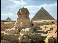 Great Pyramids (Menkaura, Khafre, Khufu) and Great Sphinx Giza, Egypt. Old Kingdom, Fourth Dynasty. c. 2550-2490 B.C.E. Cut limestone. The Great Sphinx is believed to be the most immense stone sculpture ever made by man. (stone, tombs, statues, animal symbolism)