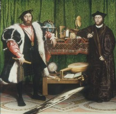 Hans Holbein the Younger The French Ambassadors 1533 Oil and tempera on wood - In this double portrait, Holdein depicted two humanists with a collection of objects reflective of their worldliness and learning, but he also included an anamorphic skull, a reminder of death