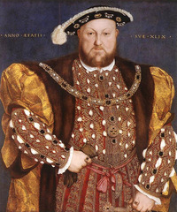 Hans Holbein Portrait of Henry VIII 1539-40 Sesnse of Enormous presence It's a frontal view! Jewels sown into the costume and on his hat. It's an iconic image like a medieval saint Figure of great power!  Holbein capable of putting forth propaganda details