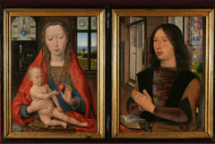 Hans Memling. Netherlandish. Portrait Diptych of Martin van Nieuwehove. 1487. Northern Renaissance/Early Netherlandish -portraits placed in an understandable space, highly realistic -The donor on the right panel, Maarten van Nieuwenhove of Bruges, was born November 11, 1463. He belonged to a patrician family whose members held prominent positions both in the government of Bruges and in the Burgundian court. About five years after this portrait was painted, Maarten became a councilor, then later the captain of the civic guard, and finally the mayor of Bruges (in 1498). He died on August 16, 1500, at the age of 36. -Hidden symbols: The apple, Christ will redeem humanity, reference to Adam and Eve -inscription that -convex mirror reveals they are in the same room, gives more clues about the space -coat of honor for the can Nieuwehove family -Saint Martin on the right
