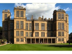 Hardwick Hall, 1590-7, Robert Smythson, Derbyshire, England.  - Flemish inspired ornamentation, enormous areas of glass, outwardly directed composition - Symmetry about primary axis - More ornamentation