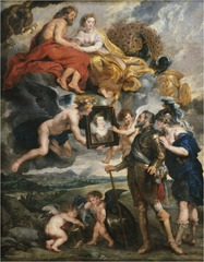 Henri IV Recieves the portrait of Marie de' Medici, from the Marie de' Medici Cycle Peter Paul Rubens. 1621-1625 C.E. Oil on canvas The cycle idealizes and allegorizes Marie's life in light of the peace and prosperity she brought to the kingdom, not through military victories but through wisdom, devotion to her husband and her adopted country, and strategic marriage alliances—her own as well as the ones she brokered for her children. This, at least, is the message she wished to convey and she worked closely with her advisors and Rubens to ensure her story was told as she saw fit.