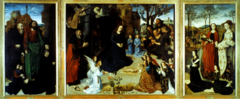 Hugo Van der Goes, Flemish/Netherlandish, Adoration of the Christ Child (Portinari Altarpiece), Northern Renaissance/Netherlandish. 1476-This large-scale Flemish work is actually in a family chapel in Florence, Italy. -Hugo painted the triptych for an Italian sip owner and agent for the powerful Medici family of Florence. -The patron appears on the wings of the altarpiece with his family and their patron saints. -The central panel depicts the Adoration of the Shepherd, -Hugo display a scene of solemn grandeur, rather than the more typical joyous celebration related to this occasion -The Virgin, Foseph and the angels seem to brood on the suffering that is to come rather than meditate on the Nativity miracle -From the right the three shepherd enter, with powerful realism in attitudes of wonder, piety, and gaping curiosity. -The wintry northern landscape unify the three panels, many symbols as Campin and Eyck and Bouts used -The Iris and columbine flowers symbolize the sorrows of the virgin -The fifteen angels represent the Fifteen Joys of Mary. -Huge revives medieval pictorial devices, small scene in the background of the altarpiece, the flight into Egypt, the annunciation to the Shepherd, and the arrival of the magi. -after this was placed in the family chapel in a Florentine church, caused lots of stir among Italian artists. -They admired the incredibly realistic details.