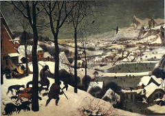 Hunters in the Snow by Bruegel, 16th cen N Ren - Part of group depicting seasons - cold, harsh winters - peasants - satirical look at society - grey to represent cold, chill - lines like chinese landscapes, utilization of line for spacial recessions - reddish browns to draw eyes, make path, fade out into distance  - warm colors create temperature in painting - huge amount of detail, so minaturistic  - suffering w/out food - still trying to enjoy life - strength of peasants  - birds flying - symbolic of idea of hope on its way as spring arrives - allusions to Holland will avoid oppression