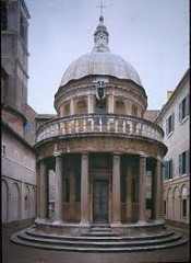 Il Tempietto by Bramante, High Ren  - 'little temple' small pagan temple from antiquity, this is a version - king ferdinand and queen isabella, spain - marks point of st peter's crucifixion - conjectural? - known to be sculpture - inside of round, colonnaded courtyard - relies on effect of composition of volumes and masses, solids and voids  - formal/rational first glance - circular sytobate, uses tuscan ordered columns - balance of parts between sections, unifies drum, base, dome - vertical emphasis in columns, stabilized by ballistrate  - mirror image of cornice above  - light/shadow w/ voids and masses of columns and recessions - conforms to ideals for ideal church  - unity, infinite essence, justice of god  - crest of king ferdinand