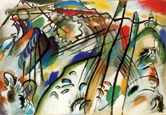 Improvisation 28 Vassily Kandinsky. 1912 C.E. Oil on canvas His style had become more abstract and nearly schematic in its spontaneity. This painting's sweeping curves and forms, which dissolve significantly but remain vaguely recognizable, seem to reveal cataclysmic events on the left and symbols of hope and the paradise of spiritual salvation on the right.