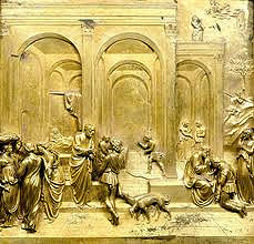 Isaac and His Sons by Ghiberti, 15th Cen. Italian Ren  - space, pictorial perspective, modeled figures for mass/volume  - figures bottom half, create recession into space, movement w/columns  - graceful women: controppasto, twisted slightly  - own segment of women positioned in front of arches, planes of space created  - scenes of genesis on different levels