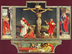 Isenheim Altarpiece - Resurrection by Grunewald, 16th cen N Ren - truly dead christ - twisted, ugly limbs/body, gangrene to skin, black dots starting to collect on skin  - sfumatto lighting emphasizes horror and pain - John Baptist - pointing at Christ, inscription of Christ the savior - Mary Magdalene - hi-lighted against background, horror, body wrenches into different angles - Mary the Virgin - falling back, paleness emphasized by white garmet - Eucharist w/sacrificial lamb bleeding iinto chalice - Lights highlighting dark river running in background of scene - idea of Baptism - St John represents washing away of sin - sky has reddish tone - blood of christ - inside: uplifting hope, use of gothic architecture, females painted in graceful manner, very realistic fall of drapery - Mary - softer features, less defined, softer hair, textures  - architectural setting, gothic architecture w/resurrection - christ rising from tomb, very radiant - looks like the sun, garmet = white sheet covering the body - light used to dissolve form - soldiers falling oddly