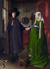 Jan van Eyck, Netherlandish Arnolfini Wedding Portrait. 1434. (London, NG) Northern Renaissance -(Book) -Both the Merode Altarpiece (Campin) and the Ghent Altarpiece contain portraits of their donors, growing tradition and interest in secular art within religious works -These paintings marked a revival of portraiture, a genre that had disappeared since antiquity, -The Arnolfini Wedding Portrait is a secular portrait with religious overtones. -Van Eyck depicted Lucca financier (who had established himself in Bruges as an agent of the Medici family) and his betrothed in a Flemish bedchamber that is simultaneously mundane and charged with the spiritual. -As in the Merod Altarpiece, almost every object portrayed conveys the meaning of the event, specifically the holiness of the matrimony. -Arnolfini and his bride, take their marriage -the cast aside clogs indicate that this event is taking place on holy ground -the doh symbolized fidelity (Latin word for canine 'Fido' meant