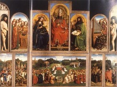 Jan Van Eyck Ghent Altarpiece (open) Ghent, Belgium completed 1432 Oil on wood - In this painting of salvation from the Original Sin of Adam and Eve, God the Father presides in majesty. Van Eyck rendered every figure, garment, and object with fidelity to appearance - Theme of salvation  - This kind of meticulous attention to recording the exact surface appearance of humans, animals, objects, and landscapes, already evident in the Merode Altarpiece, became the hallmark of Flemish panel painting in the 15th century