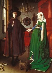 Jan Van Eyck Giovanii Arnolfini and His Bride 1434 Oil on wood - Van Eyck played a major role in popularizing oil painting and in establishing portraiture as an important art form. In this portrait of an Italian Financier and his wife, he also portrayed himself in the mirror  - Emerging capitalism led to an urban prosperity that fueled the growing bourgeois market for art objects - contributing to the growing interest of secular art - Different objects symbolize different things