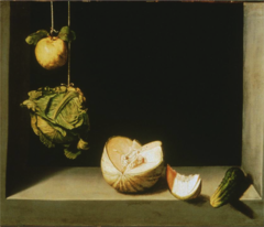Juan Sanchez Cotan Spanish. Still Life with Vegetables, 1628. Baroque. -active baroque, styleof art in Spanish Baroque school -right around same time as earliest Carvaggio pictures, uses storng diagonal light, chiaroscuro so vegetables hsow up very brightly agsinst dark background -some vegetables ocme out into your space -cucmber, illusionistic miracle comign into your space -creates space in a little niche, lit on one side dark on one side -light is comign from upper left, from infront of the picture slightly, high angle -powerfullight, careful magnetic painting, captures the texture and color of these objects and shapes, and makes them appear almost surreal, more powerful than reality, begin to vibrate slightly -presence you would not expect vegetables to have -PICTURE OF VEGETABLES BUT SOME PERSON HAS ARRANGED THEM THIS WAY