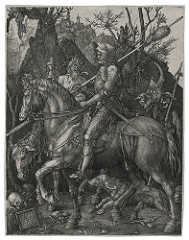 Knight, Death, and the Devil by Durer, 16th Cen N Ren - Engraving  - Surface area - Stable knight, n landscape, nature is more harsh, unforgiving - dog = fidelity for christian knight representing fath, only armed with - faith - Devil in backtal in mortality - 'whole armor of god' - Monumental in mortality - 'whole armor of god' - Monumental knight - strength and proportions, insporation around same  - Intense deatil - Hatching to make things fluid and gradual
