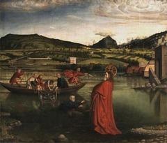 Konrad Witz Miraculous Draught of Fish, from the Altarpiece of Saint Peter Geneva, Switzerland 1444 Oil on wood - Konrad Witz set this Gospel episode on Lake Geneva. The painting is one of the first 15th century works depicting a specific landscape and is noteworthy for the painter's skill in rendering water effects
