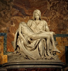 La Pieta Answer these questions:  1. Who is the artist? 2. List three qualities that make this a renaissance masterpiece. 3. Explain: how is humanism, secularism, and/or individualism revealed in this work of art?