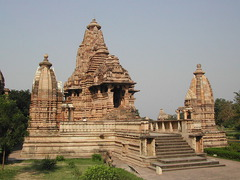 Lakshmana Temple Khajuraho, India. Hindu, Chandella Dynasty. c. 930-950 C.E. Sandstone Though the temple is one of the oldest in the Khajuraho fields, it is also one of the most exquistely decorated, covered almost completely with images of over 600 gods in the Hindu Pantheon. The main shrine of the temple, which faces east, is flanked by four freestanding subsidiary shrines at the corners of the temple platform.
